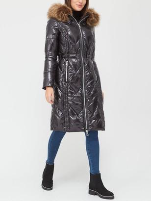 Very Long High Shine Padded Coat - Black