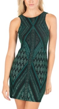 Speechless Juniors' Cutout-Back Glitter Sheath Dress