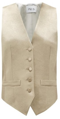 Pallas X Claire Thomson-jonville - Gossip Single-breasted Hammered-satin Waistcoat - Womens - Gold