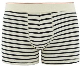 Hemen Biarritz - Marti Striped Organic Cotton-blend Boxer Briefs - Mens - Cream Navy