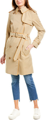 Burberry Piped Gabardine Trench Coat