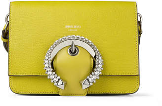 Jimmy Choo MADELINE SHOULDER Citrus Goat and Calf Leather Shoulder Bag with Crystal Buckle