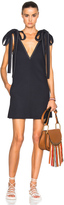 Chloé Textured Crepe Contrast Stitch Dress