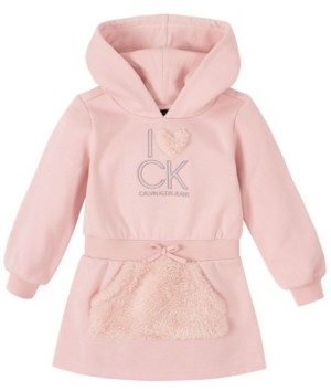 Calvin Klein Toddler Girl Pink Fleece Hooded Dress