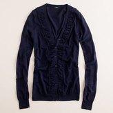 Shirred ruffle cardigan