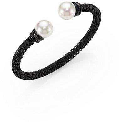 Majorica 12MM White Pearl Tipped Bracelet/Blackened