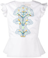 Peter Pilotto sleeveless embroidered peplum top - women - Cotton/Polyester - 6