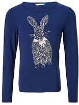 John Lewis Girls' Rabbit Print T-Shirt, Navy