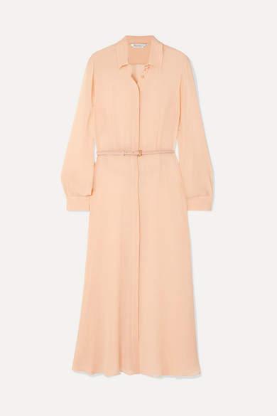 Max Mara Delfi Belted Silk-chiffon Midi Dress - Peach