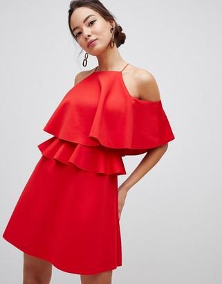 Asos Design DESIGN high neck ruffle skater mini dress-Pink