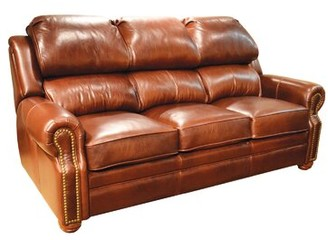 Omnia Leather San Juan Leather Reclining Sofa Omnia Leather Body Fabric: Softsations Cranberry, Nailhead Detail: Medium Antique Touching, Reclining Type: Manual