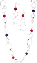 Carole Blue & Red Linked Hoop Necklace Set