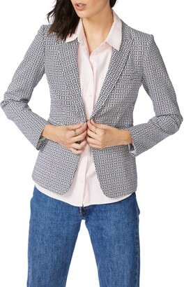 Court & Rowe Tile Floral One-Button Blazer