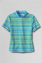 Classic Toddler Girls Stripe Mock Neck Rash Guard-Island Blue Stripe