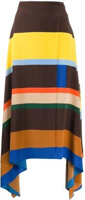 Parker Chinti & striped asymmetric skirt