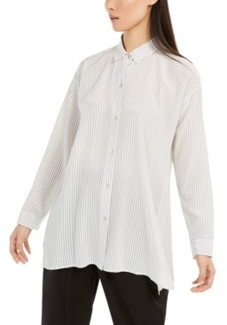 Eileen Fisher Striped Button-Up Silk Shirt, Regular & Petite Sizes
