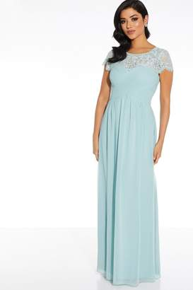 Quiz Sage Lace Sweetheart Maxi Dress