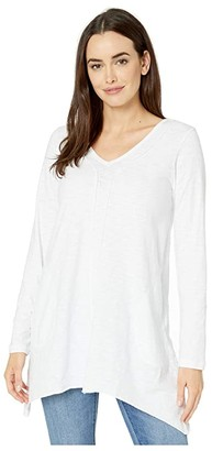 Mod-o-doc Heavier Slub Jersey Long Sleeve Seamed Tunic with Pockets (White) Women's Clothing