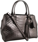 BCBGMAXAZRIA Curve Quilt East/ West Tote (Pewter) - Bags and Luggage