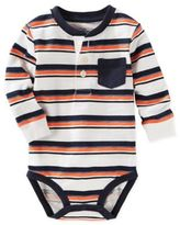 Osh Kosh Long Sleeve Striped Bodysuit in White/Blue
