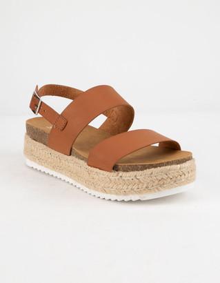 Soda Sunglasses 2 Strap Tan Womens Espadrille Flatform Sandals