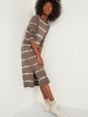 Old Navy Tie-Dye Stripe Midi T-Shirt Shift Dress for Women