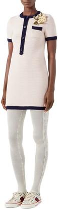 Gucci Floral Brooch Wool Sweater Minidress