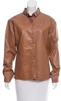 Bottega Veneta Leather Button-Up Top