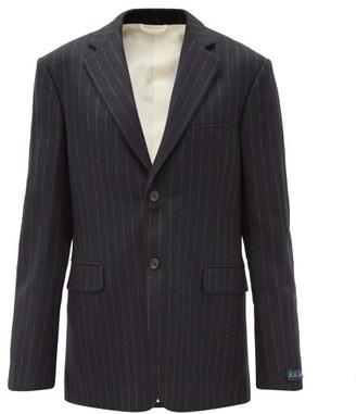 Raf Simons Pinstriped Wool-twill Suit Jacket - Black Grey