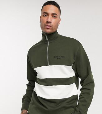 Topman Big & Tall sweat with half zip in khaki & white stripe
