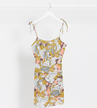 Only Petite mini cami dress with tie sleeves in abstract print