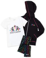 Juicy Couture Girls 4-6x) 3-Piece Hoodie & Polka Dot Leggings Set