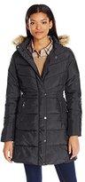 U.S. Polo Assn. Women's Long Puffer Coat with Faux Fur Trimmed Hood
