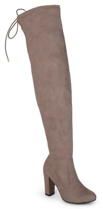 Brinley Co. Women's Over-the-knee High Heel Faux Suede Wide Calf Boots