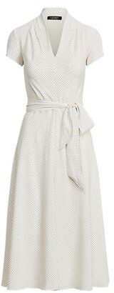 Ralph Lauren Polka-Dot Crepe Midi Dress