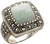 Lord & Taylor Sterling Silver And Marcasite Square Jade Ring