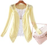 MEXUD Women Lady Lace Sweet Candy Color Crochet Knit Blouse Top Coat Sweater Cardigan