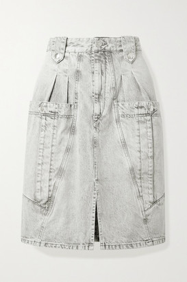 Isabel Marant Kalosia Pleated Denim Skirt - Gray