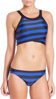 DKNY Iconic Stripe High-Neck Bikini Top