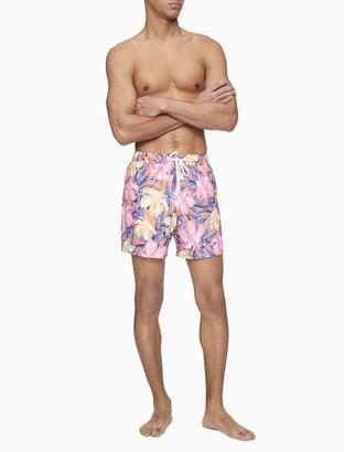 "Calvin Klein Tropical Hibiscus Print 5.5"" Swim Shorts"