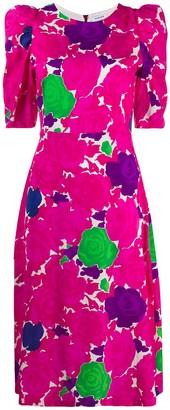 P.A.R.O.S.H. Rose Print Structured Shoulder Dress