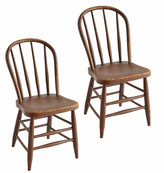 Rejuvenation Pair of Rustic Painted Windsor Dining Chairs