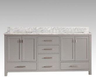 "Hokku Designs Harper 72"" Double Bathroom Vanity Set Base Finish: Gray"
