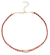 Jacquie Aiche Braided Leather Pavé Oval Moonstone Choker