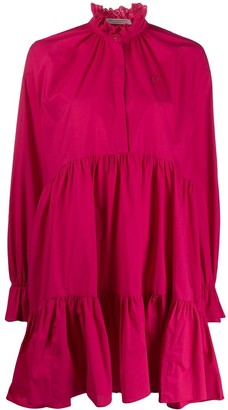 Philosophy di Lorenzo Serafini Broderie Anglaise Collar Ruffled Dress