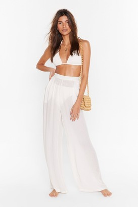 Nasty Gal Womens We Sea Everything Wide-Leg Cover-Up Pants - Cream