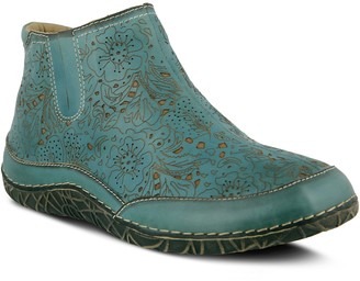 Spring Step L'Artiste Perforated Floral Print Leather Booties - Libootie