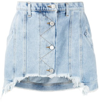 Natasha Zinko Short Frayed Denim Skirt