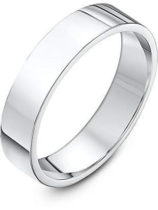 Theia Sterling Silver Super Heavy Flat Court Shape Polished 4mm Wedding Ring - Size O