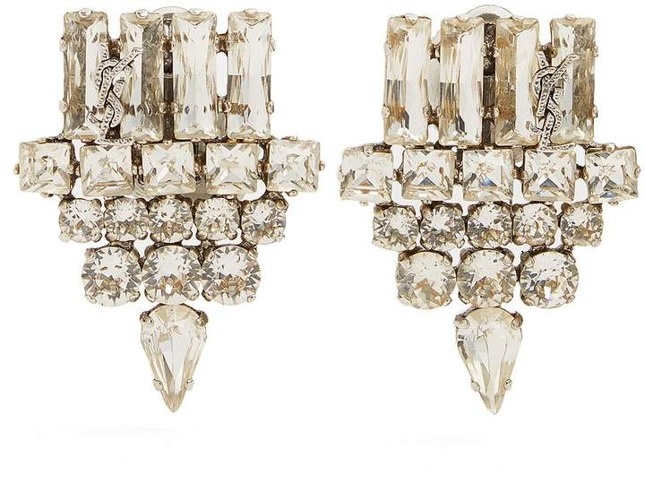 Saint Laurent Crystal-embellished clip-on earrings